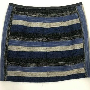 H&M Skirt Size 10 Women's Black And Blue Stripe